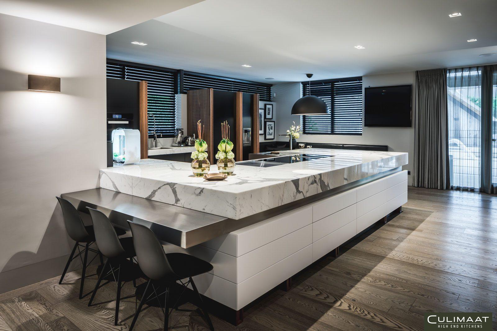 Luxe keuken, culimaat, marmer, leefkeuken, luxe uitstraling,